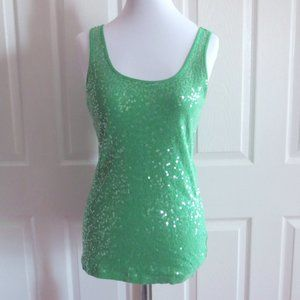 Express Green Sequined Tank Top